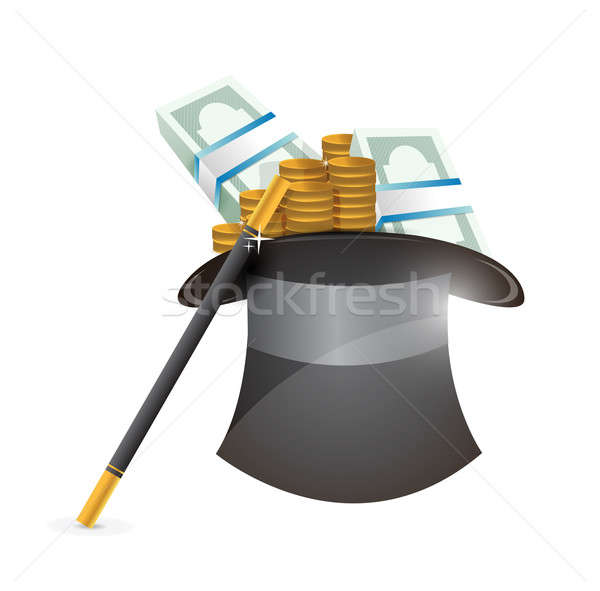 hat with money illustration design over a white background Stock photo © alexmillos