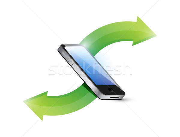 transferring data from phone illustration design over a white ba Stock photo © alexmillos