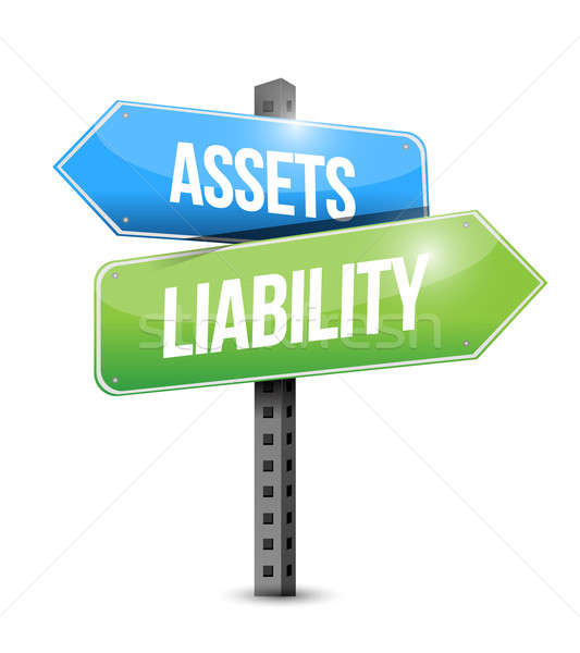 Assets liability road sign illustration design Stock photo © alexmillos