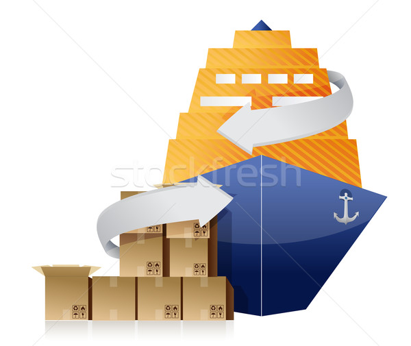 Cargo ship, boxes, and movement arrows Stock photo © alexmillos