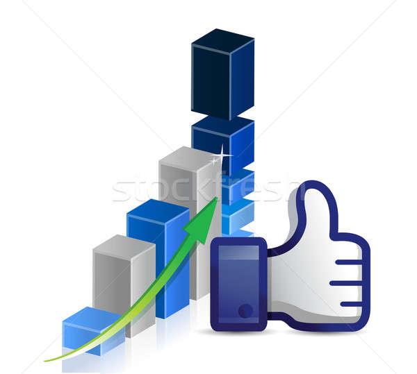 üzleti grafikon hüvelykujj felfelé üzlet absztrakt hálózat Stock fotó © alexmillos