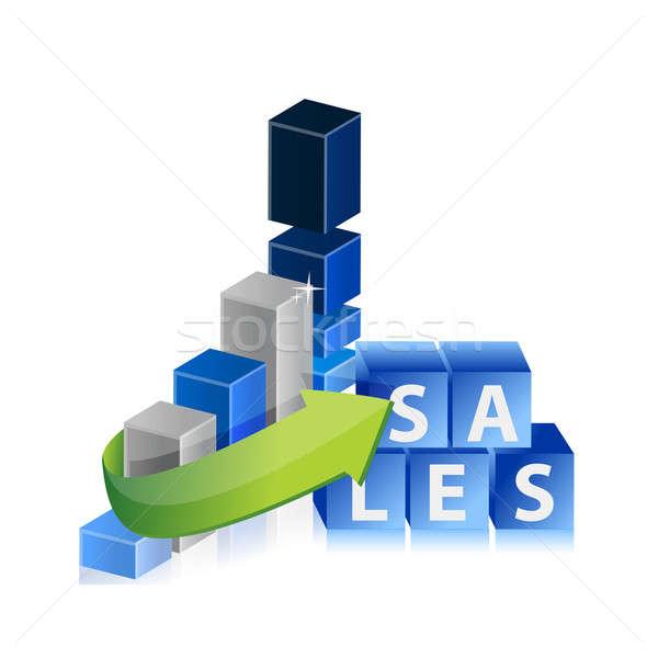 Venta cubos gráfico de negocio establecer diseno resumen Foto stock © alexmillos