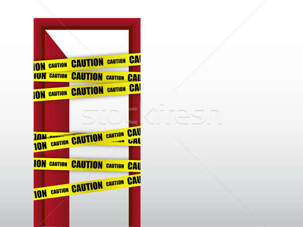 Do not enter caution with door sign Stock photo © alexmillos