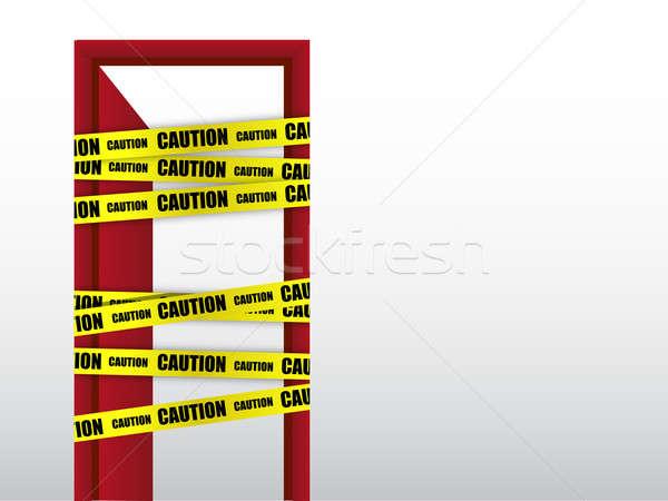 ストックフォト: しない · 注意 · ドア · にログイン · 壁