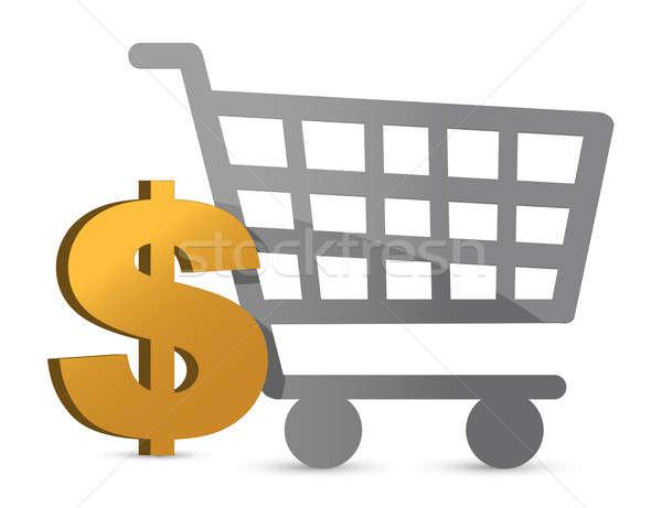 Alışveriş sepeti dolar para para çapraz imzalamak Stok fotoğraf © alexmillos