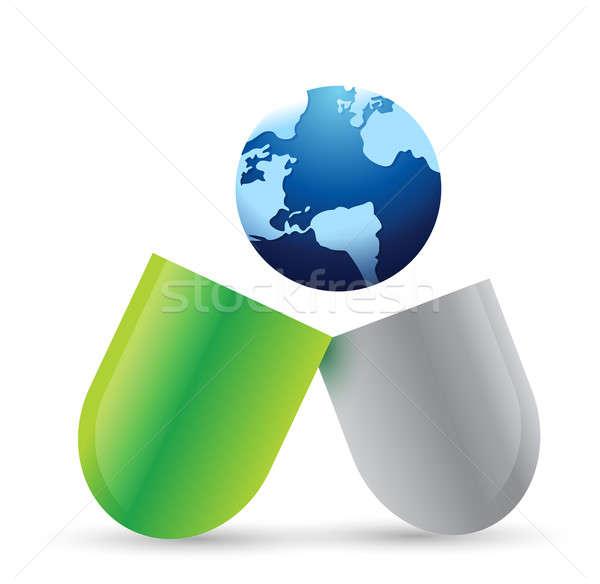 Globe pill illustration  Stock photo © alexmillos