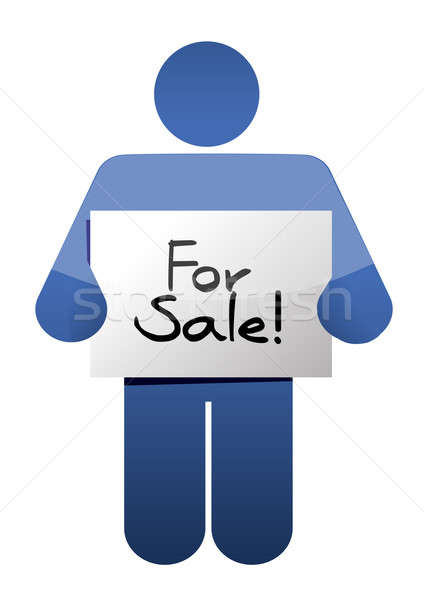holding a for sale sign. illustration design over a white backgr Stock photo © alexmillos