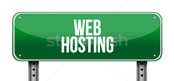 Web hosting street sign concept Stock photo © alexmillos