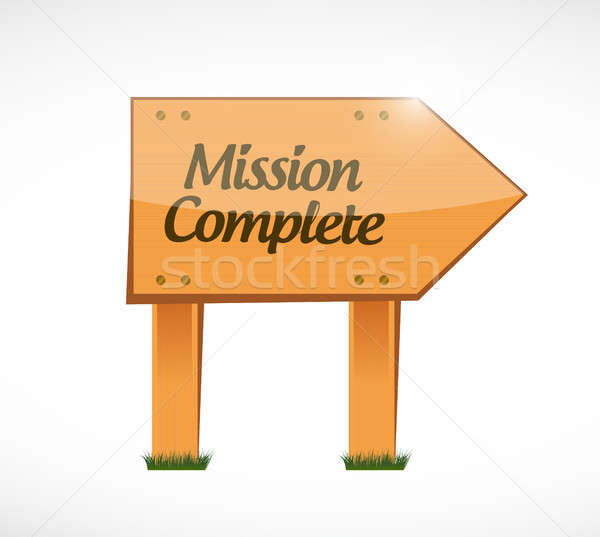 mission complete wood sign concept Stock photo © alexmillos
