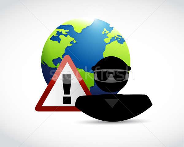 セキュリティ 警告 国際 実例 デザイン 白 ストックフォト © alexmillos