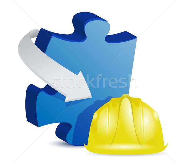 Puzzle építkezés illusztráció terv fehér munka Stock fotó © alexmillos
