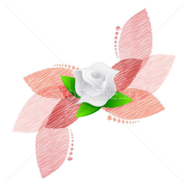 rose over red leaves illustration design Stock photo © alexmillos
