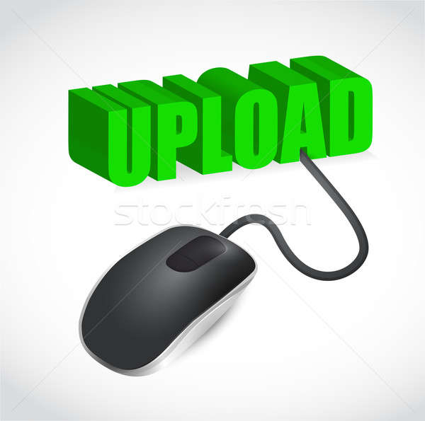 Computer mouse and upload word illustration Stock photo © alexmillos
