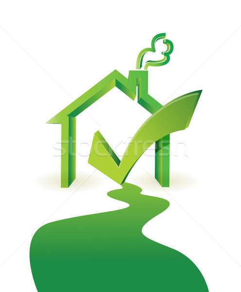 Stock fotó: Ház · út · jóváhagyás · illusztráció · terv · fehér