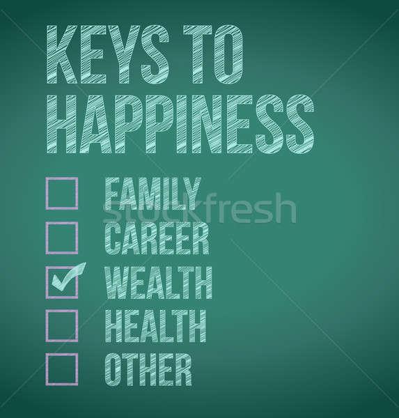 Abbondanza tasti felicità illustrazione design lavagna Foto d'archivio © alexmillos
