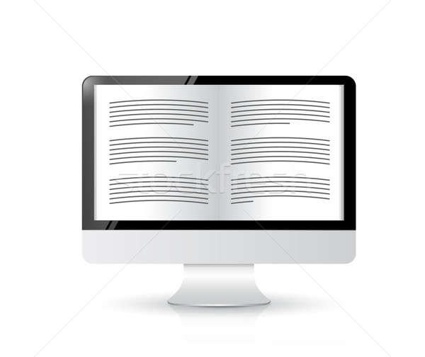 Ebook lector ordenador ilustración diseno blanco Foto stock © alexmillos