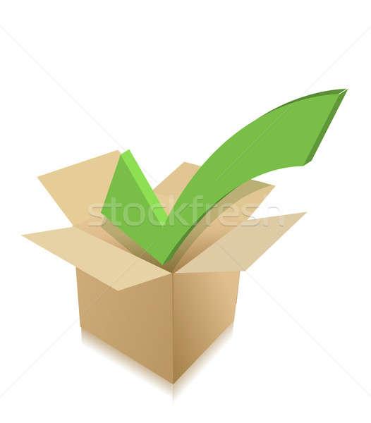 check mark box cardboard. illustration design over white Stock photo © alexmillos