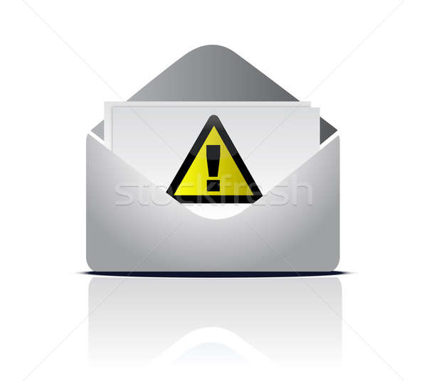 attention email warning sign illustration design over white Stock photo © alexmillos