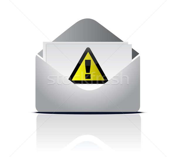 Figyelem email figyelmeztető jel illusztráció terv fehér Stock fotó © alexmillos