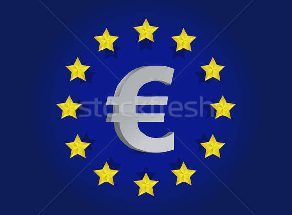 European union flag and euro symbol illustration design Stock photo © alexmillos