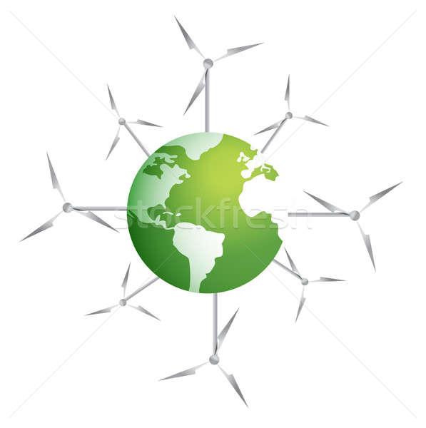Modern windmills on a green planet illustration design on white Stock photo © alexmillos