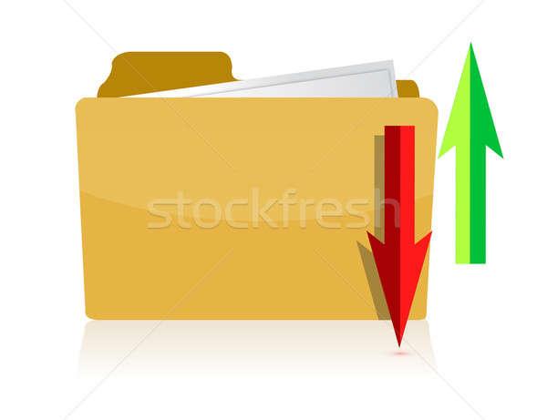アップロード ダウンロード 黄色 コンピュータ フォルダ 白 ストックフォト © alexmillos