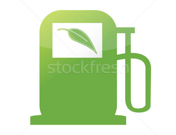 green gas pump illustration design over a white background Stock photo © alexmillos