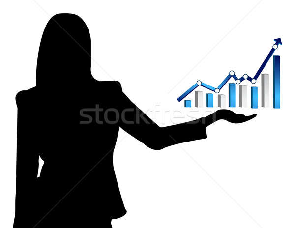 Business woman and a graph showing growth of business Stock photo © alexmillos