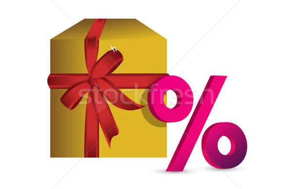 White gift box with discount sign Stock photo © alexmillos
