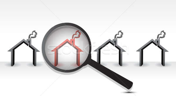 Searching Hot Property with Magnifying Glass Stock photo © alexmillos