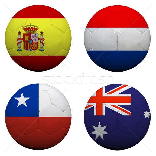 soccer balls with group B teams flags, Football Brazil 2014. iso Stock photo © alexmillos