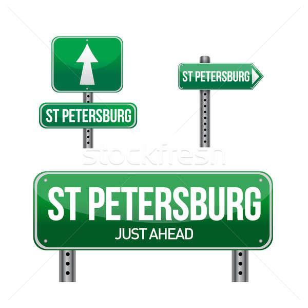 saint petersburg city road sign illustration design over white Stock photo © alexmillos
