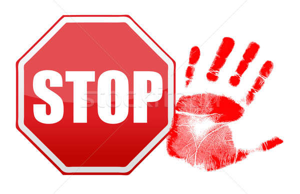 stop handprint illustration design over white background Stock photo © alexmillos