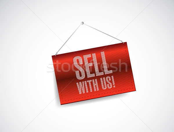 sell with us red banner illustration design over a white backgro Stock photo © alexmillos