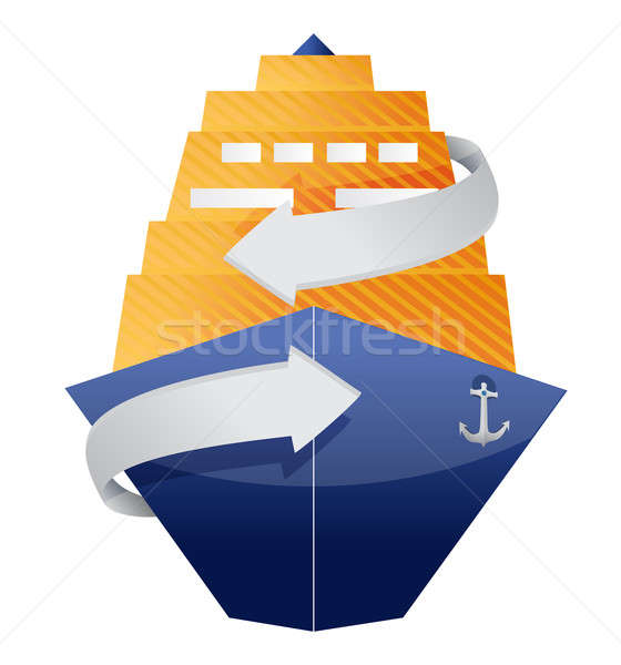 cruise ship and arrow illustration design over a white backgroun Stock photo © alexmillos