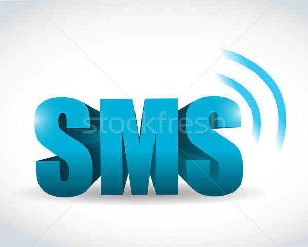 sms 3d text illustration design over a white background Stock photo © alexmillos
