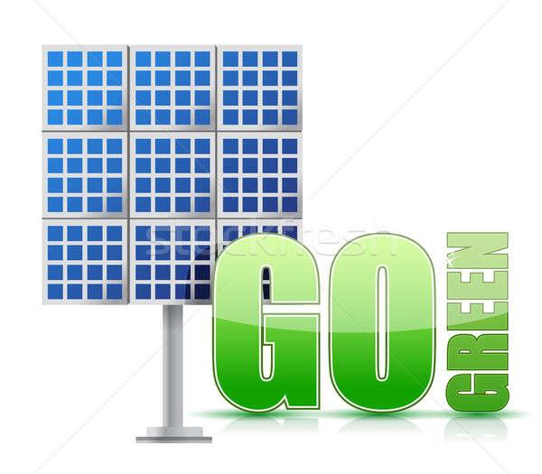 Hernieuwbare energie afbeelding zonnepanelen illustratie ontwerp witte Stockfoto © alexmillos