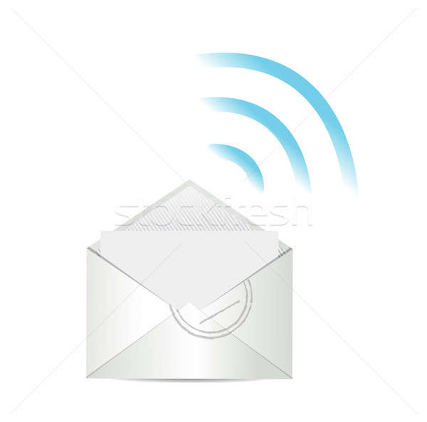 email. mail and wifi internet connection illustration design Stock photo © alexmillos