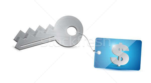 key dollar security illustration design over a white background Stock photo © alexmillos