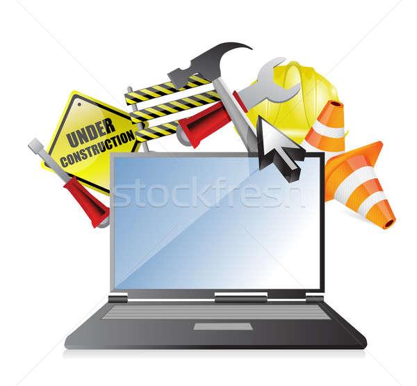 laptop under construction concept illustration design over white Stock photo © alexmillos