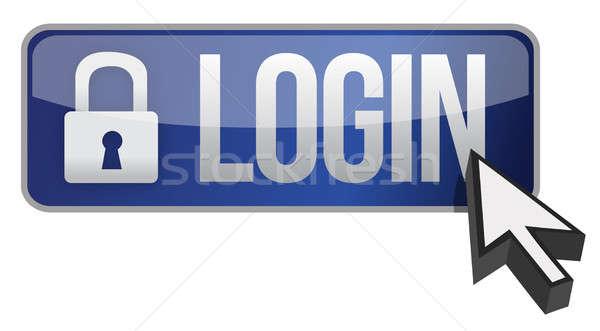 Login botão ilustração projeto branco abstrato Foto stock © alexmillos