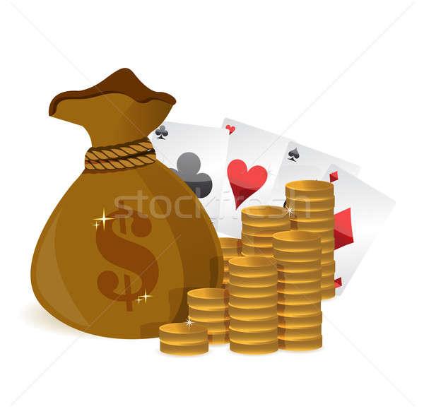 Soldi borse casino illustrazione design Foto d'archivio © alexmillos