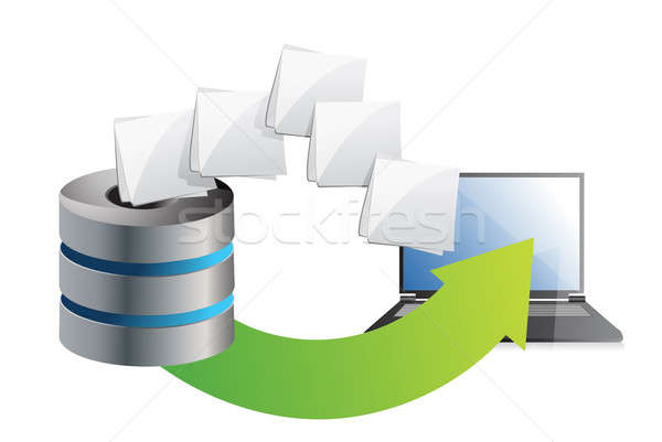 server and laptop transferring files over a white background Stock photo © alexmillos