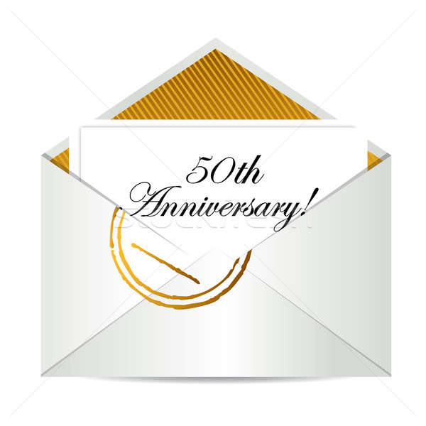 Happy 50th Anniversary gold mail letter Stock photo © alexmillos