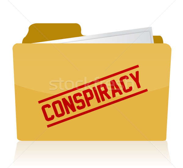 stamp showing the term conspiracy on a folder. Illustration desi Stock photo © alexmillos