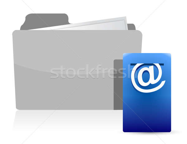folder with Postbox Icon illustration design over white Stock photo © alexmillos