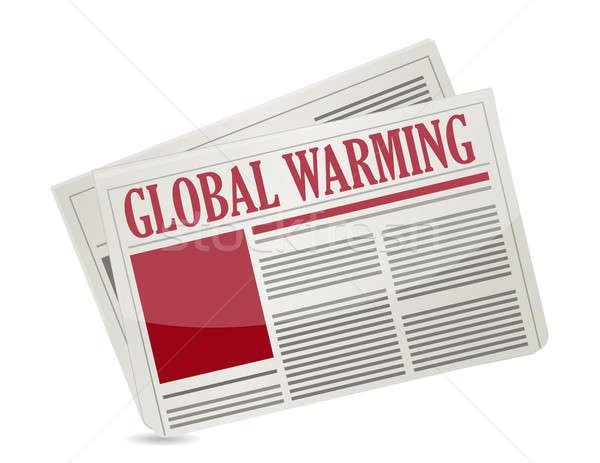Gazeteler başlık küresel isınma haber kırmızı iletişim Stok fotoğraf © alexmillos