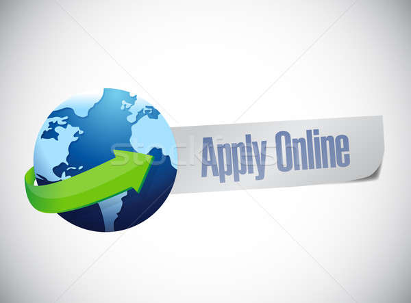 apply online globe world map illustration design over a blue bac Stock photo © alexmillos