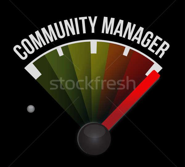 Közösség menedzser sebességmérő felirat illusztráció terv Stock fotó © alexmillos