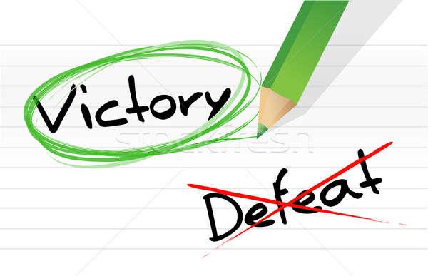 Overwinning nederlaag illustratie ontwerp notepad pen Stockfoto © alexmillos